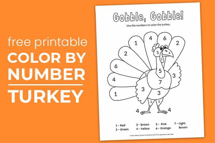 Free Printable Color By Number Turkey Worksheet - Mrs. Merry